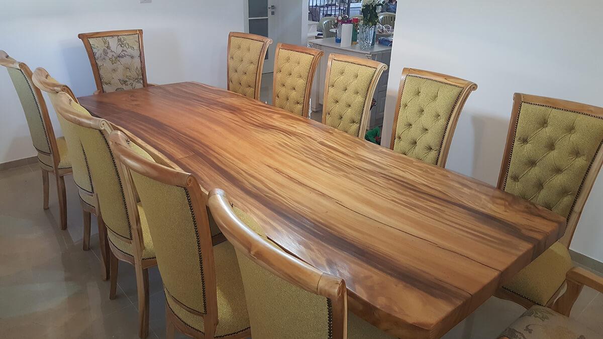 שולחן גזע פרוס בשילוב כיסאות מרופדים