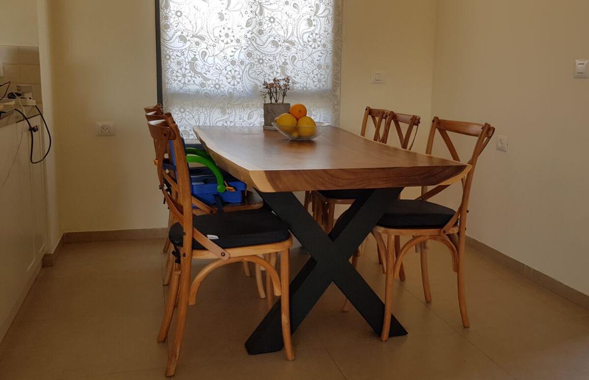 שולחן אוכל גזע פרוס רגל איקס