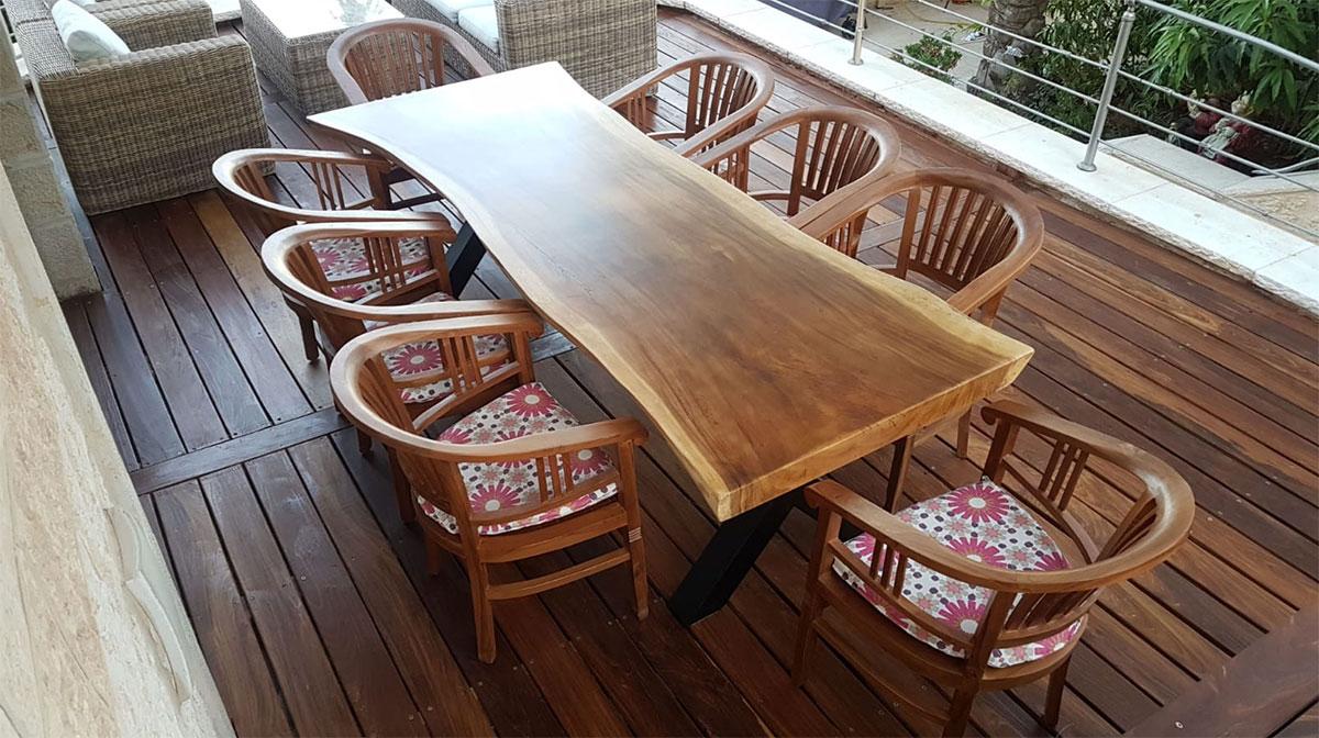 שולחן גזע פרוס רגל נפחות