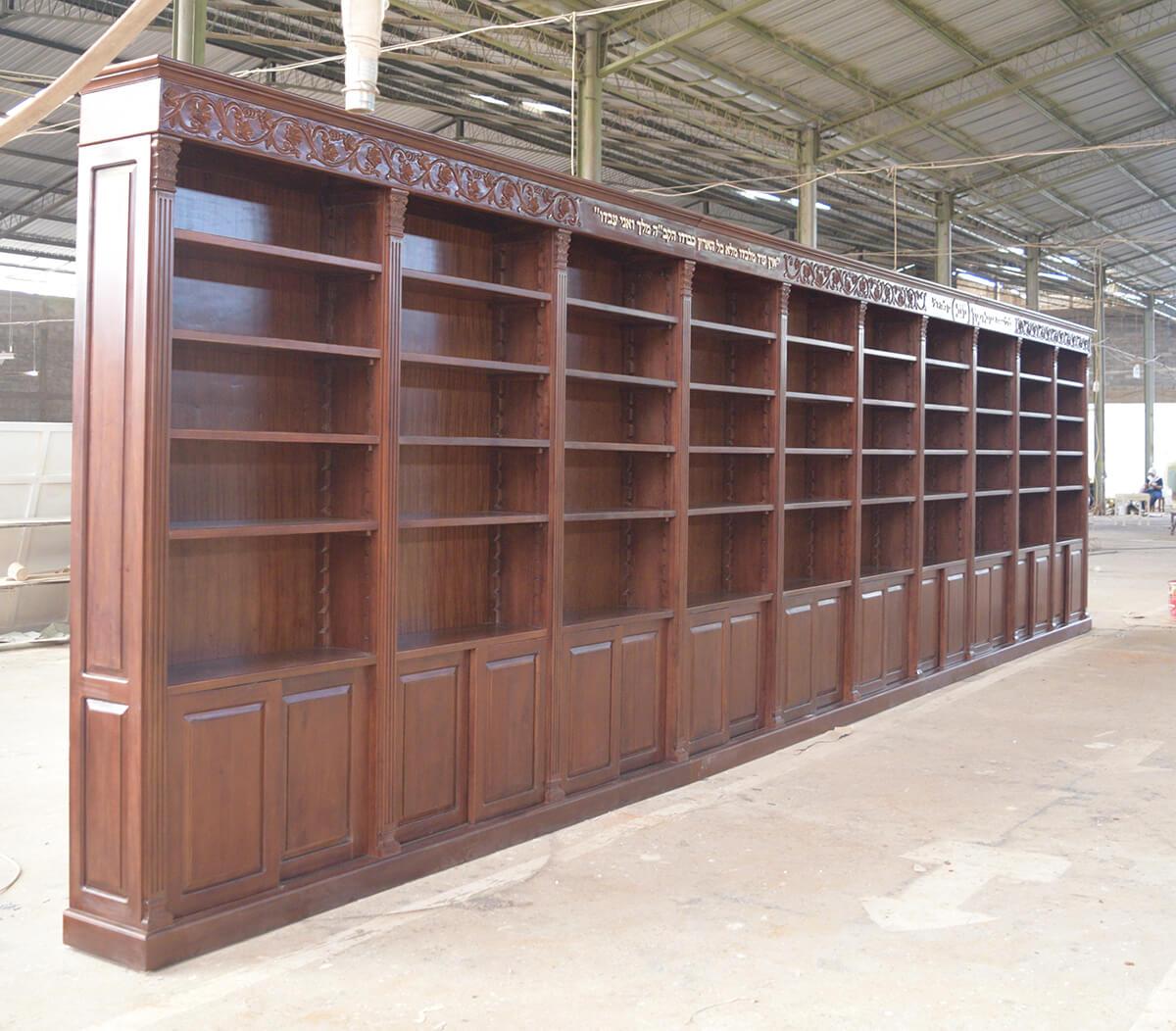 ספריית קודש עץ מלא מהגוני גילוף יד