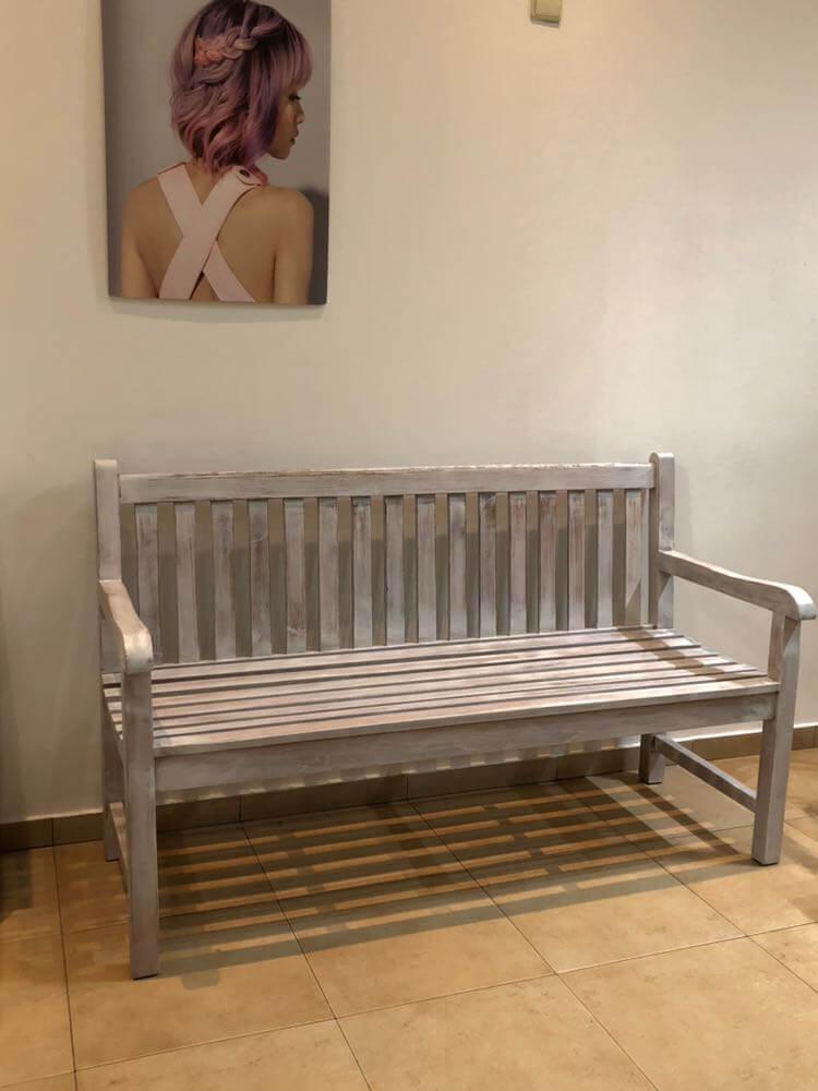 garden bench white wash