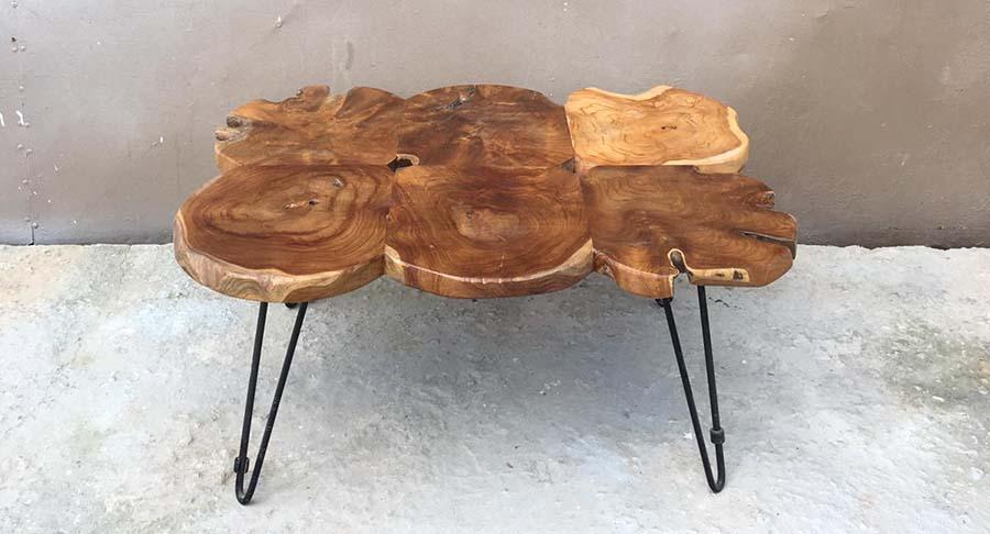"""שולחן סלון ייחודי פלחי עץ טיק במחיר מבצע: 1800 ש""""ח במקום 2400 ש""""ח"""