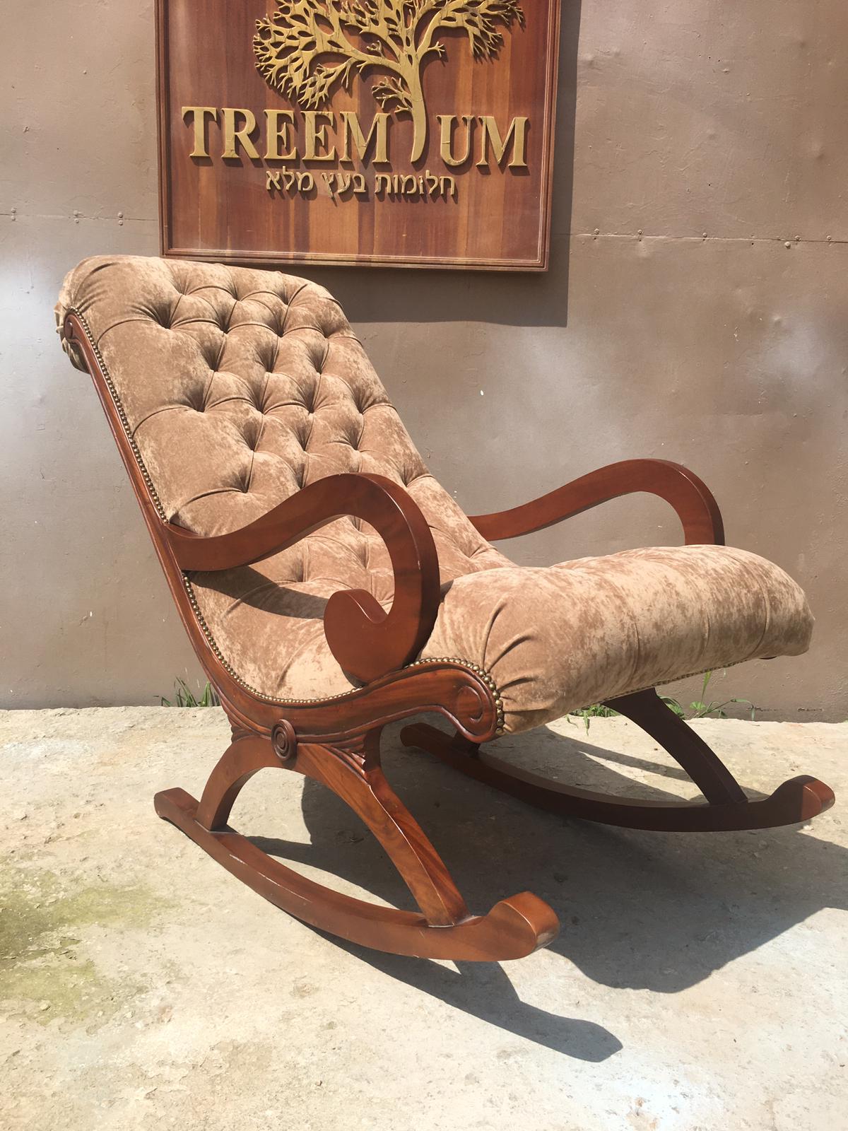 """כיסא נדנדה מפואר עץ מהגוני במחיר מבצע: 2,800 ש""""ח"""