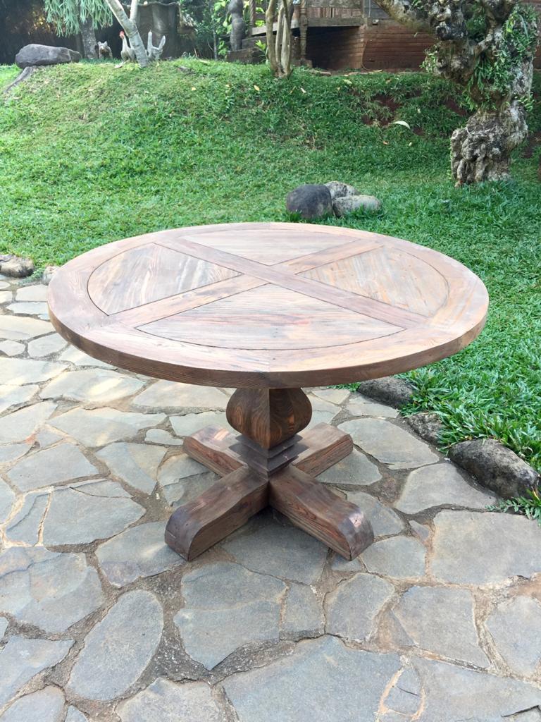 """שולחן אוכל עגול עץ ממוחזר קוטר 1.2 ללא פתיחה במחיר מבצע: 3,200 ש""""ח"""