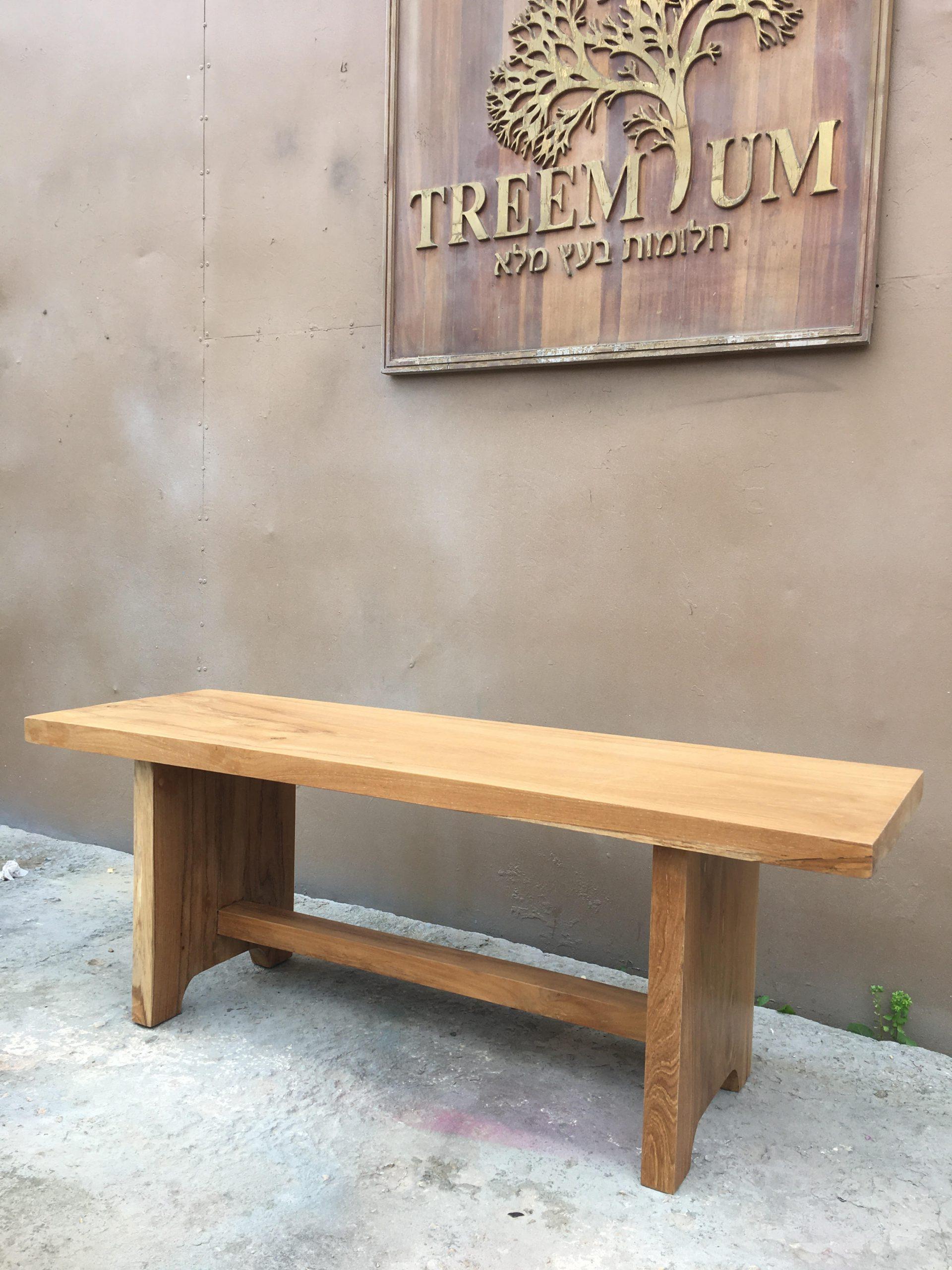 """ספסל עץ מלא במחיר מבצע 1,200 ש""""ח"""