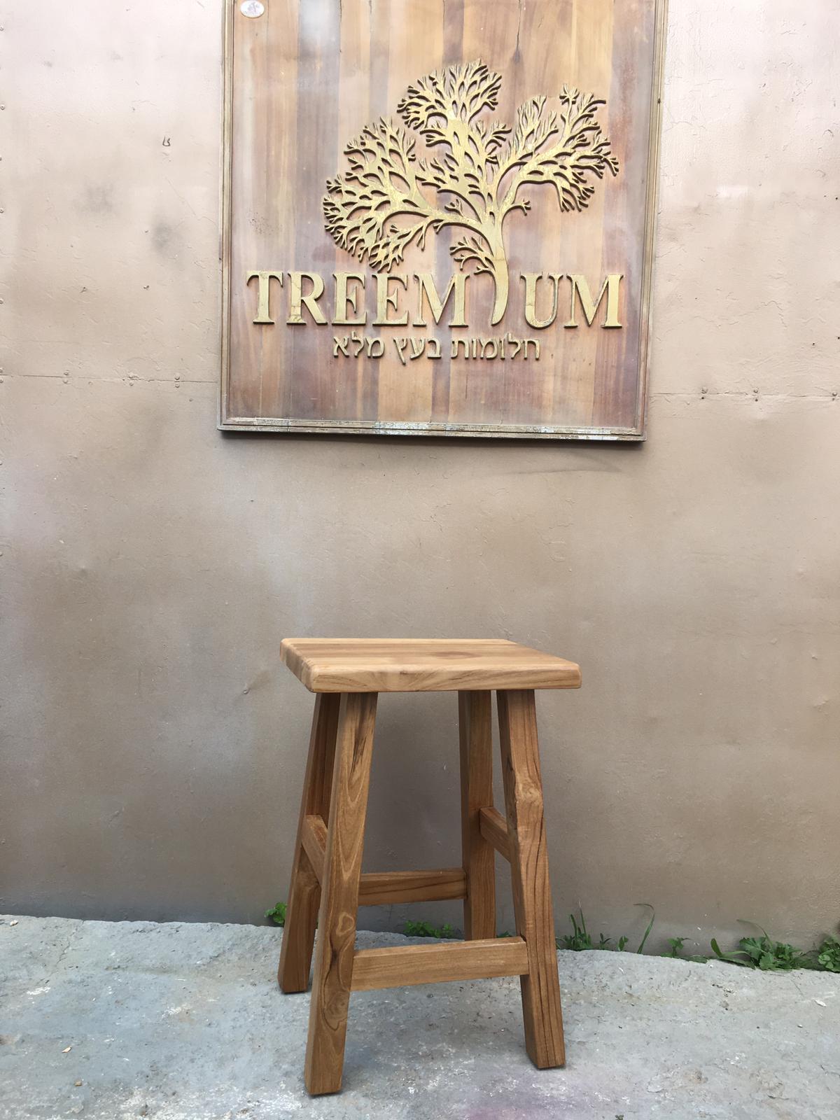 כיסא בר כפרי ללא גב עץ טיק