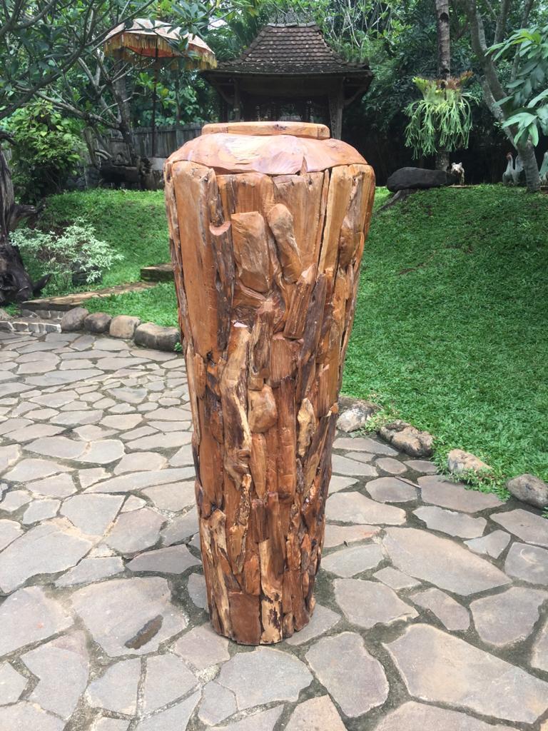 """כד דקורטיבי עץ טיק גובה 180 ס""""מ"""