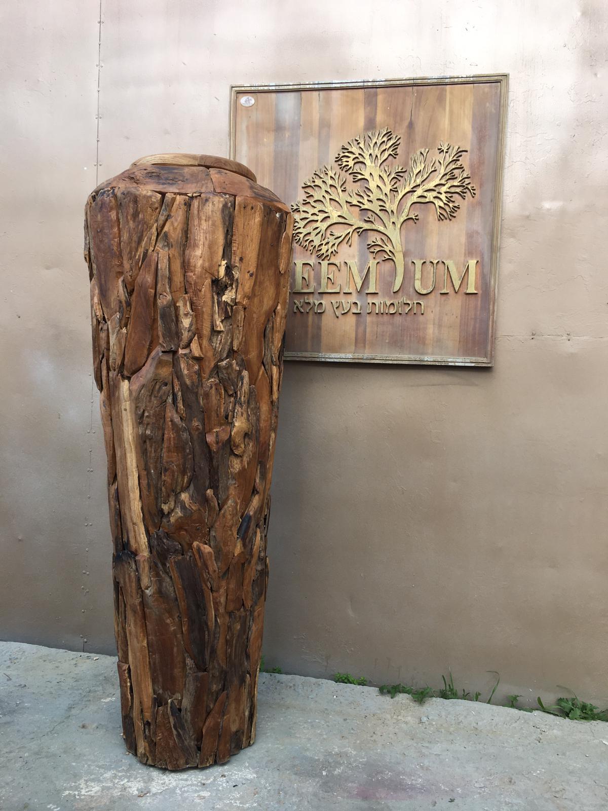 """כד דקורטיבי ענק עץ טיק במחיר מבצע: 1,200 ש""""ח"""