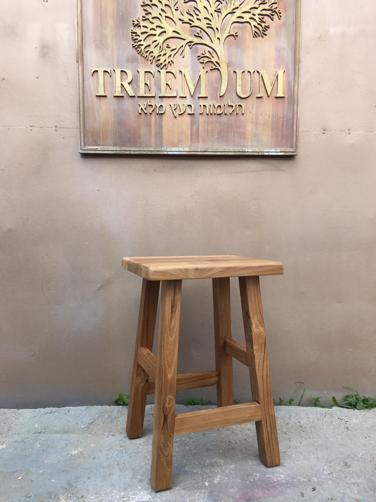 """כיסא בר ללא גב עץ טיק משובח במחיר מבצע 590 ש""""ח"""