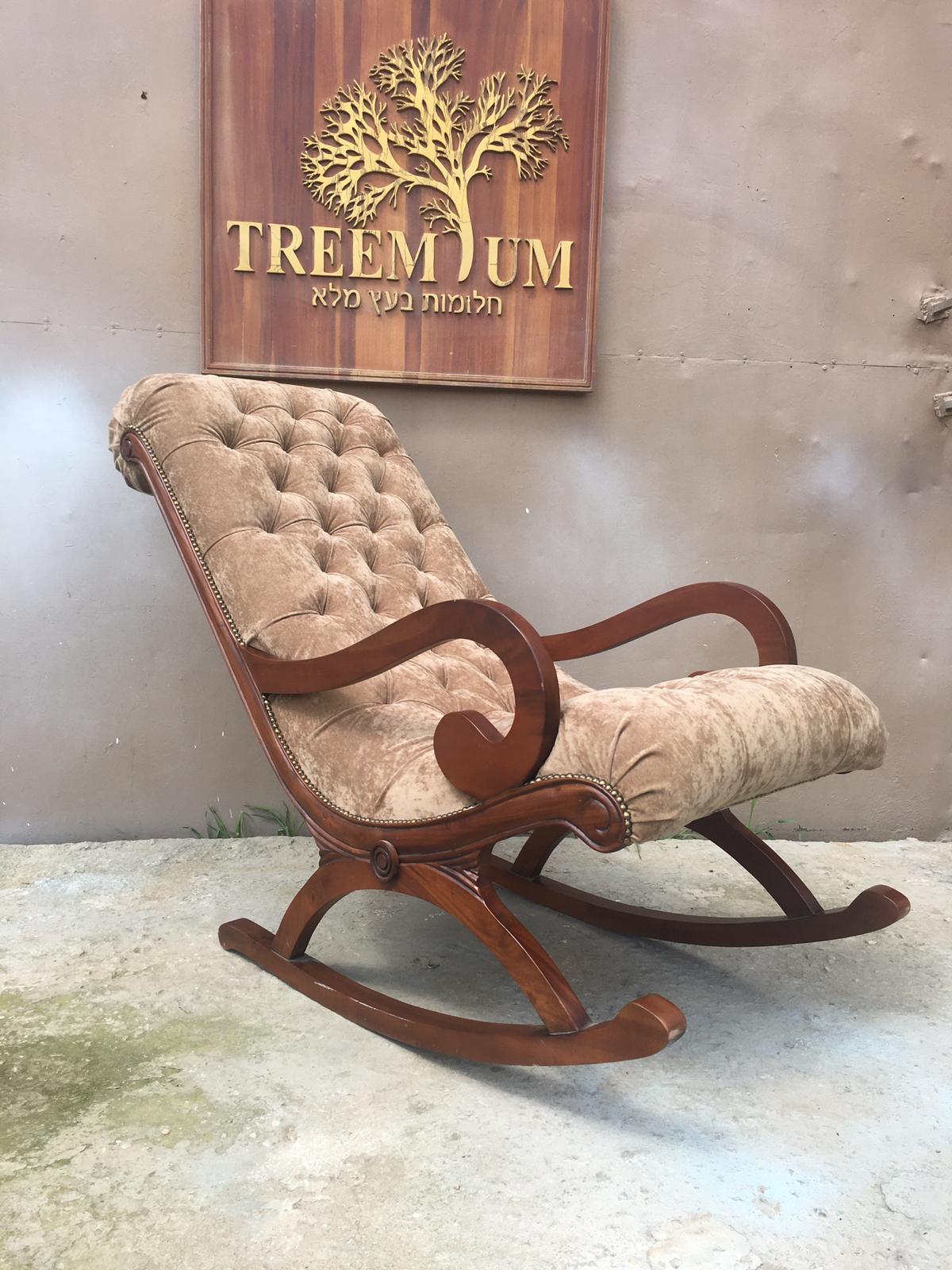 """כיסא נדנדה מפואר עץ מלא במחיר מבצע: 2,800 ש""""ח"""