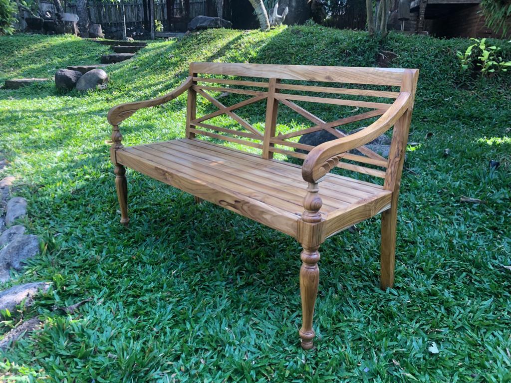 """ספסל גב איקס עץ מלא טיק במחיר מבצע: 2,200 ש""""ח"""