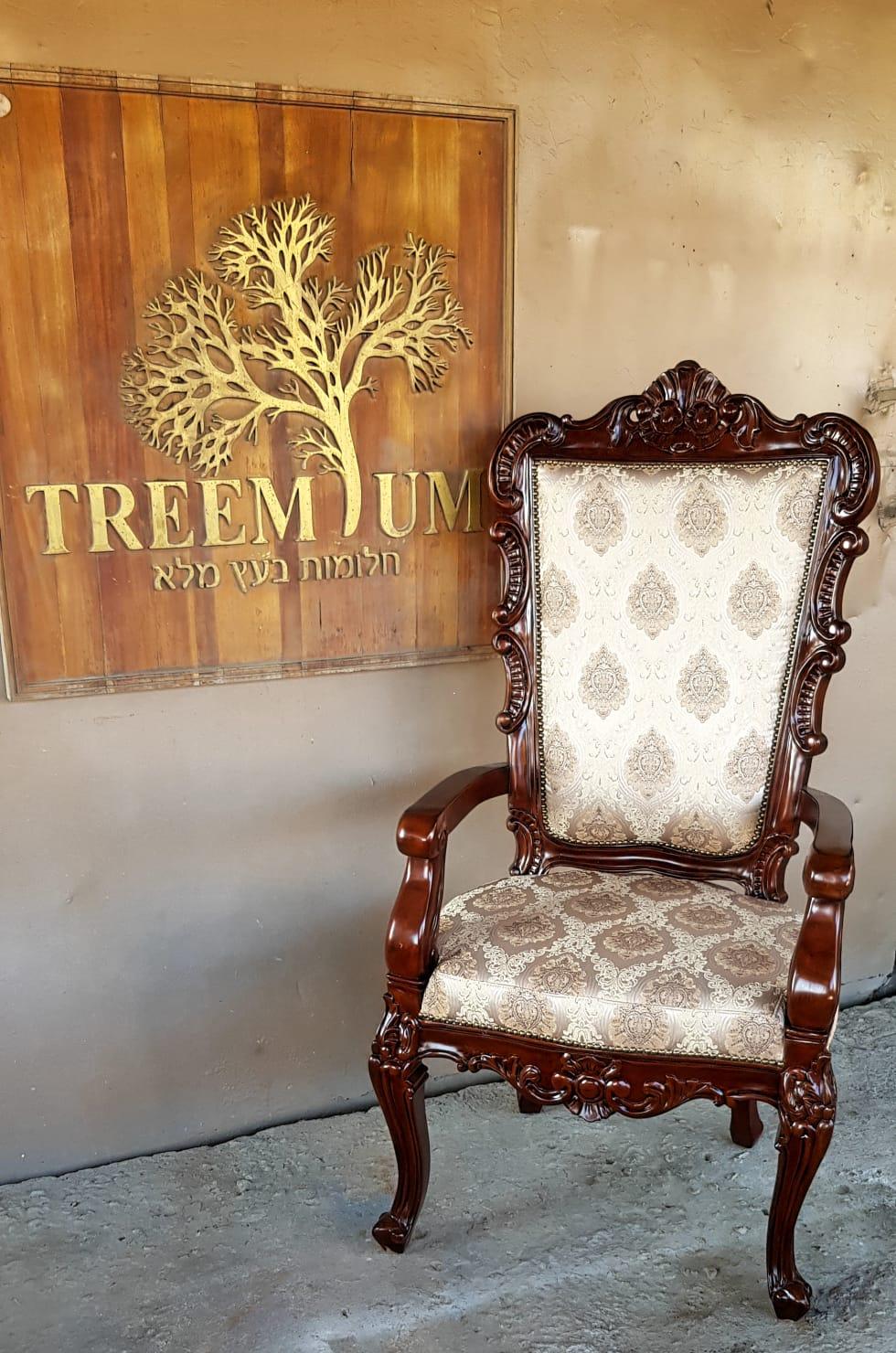 כיסא מפואר עץ מלא דגם 2595 סעארט ויזניץ בני ברק